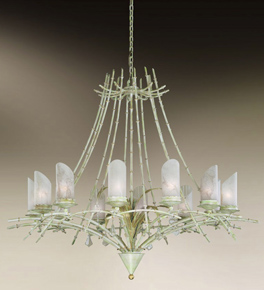 Bamboo Design 12 Light Chandelier With Rings & Leaves To Adorn The Frame