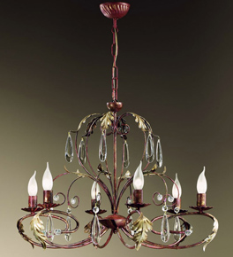 Fiocco Design Curved Chandelier with Leaves and Crystal Detail