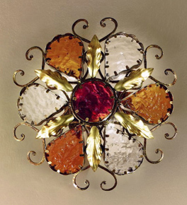 Decó Design metal flush wall light with murano glass details
