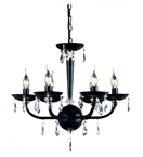 Modern Moulded Black Glass 6 Light Chandelier with Crystal Drops