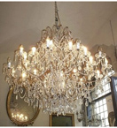 Antique Crystal Drop 24 Light Chandelier.