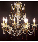 Antique Crystal Drop 6 Light Elegant Chandelier.