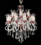 Antique Murano Glass Crystal Drop 30 Light Hale Style Chandelier.