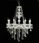 Antique Style Glass 6 Light Chandelier with Crystal Drops