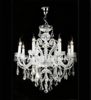 Elegant Crystal Drop Murano Glass 8 Light Chandelier.