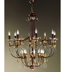 Large Luna Design Chandelier with Gold Leaf Details