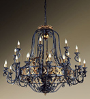 Fiamme Design Black Frame Chandelier with gold details