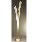 Virgola design metal floor lamp that in decorated in gold leaf and silver leaf