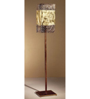 Forme design square metal floor lamp that has drill & flame cut details