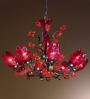 Charm Design blown glass rose detailed chandelier